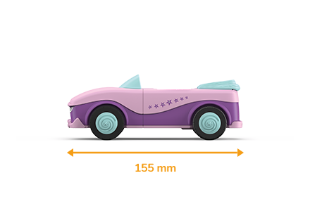 Toy vehicle in rose-purple with light blue wheels and a drawn length of 155 millimeters