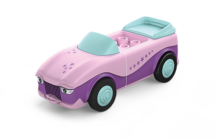Toddys toy vehicle in rose and purple with light blue wheels