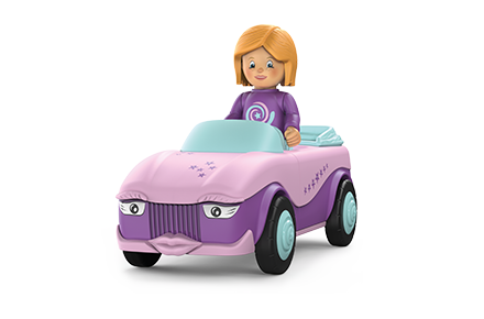 Toy figure Betty Blinky: girl with a purple sweater in a pink car