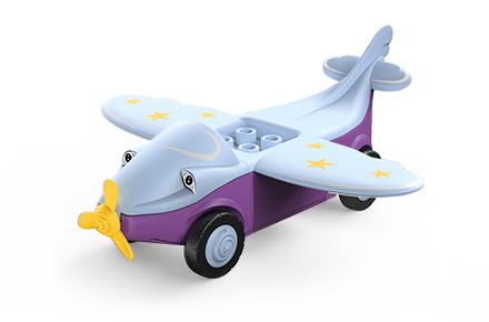 Toddys toy airplane in the colors gray-purple with yellow propeller and stars on the wings