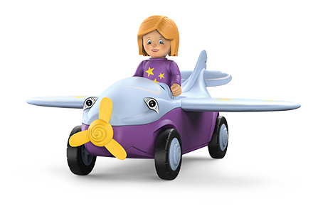 Toy figure Conny Cloudy: girl in a small plane with a bird's face