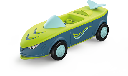 Toddys toy vehicle in a shark shape, in the colors green-blue with blue wheels