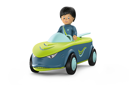 Toy figure Dave Divey: boy drives in a green car-shaped boat