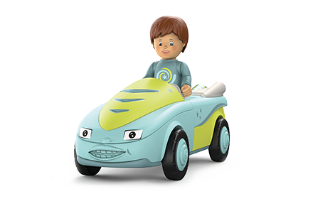 Toy figure Freddy Fluxy: little boy in a gray-blue sweater with brown hair in a blue-green car