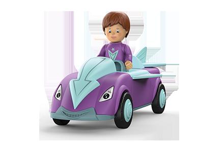 Toddys Spielzeug Auto in Pfeilform und den Farben blau-lila mit blauen Rädern
