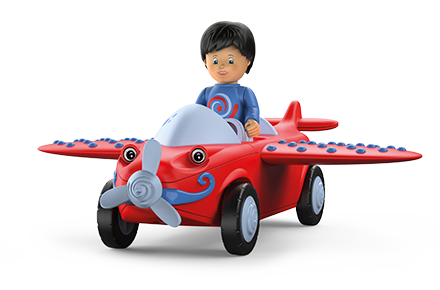 Toy figure Leo Loopy: little boy with a blue sweater and black hair in a red plane