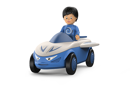Toy figure Mike Moby: little boy with a blue sweater and black hair in a blue-gray car with a face