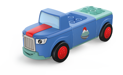 Toddys toy car Mounty in the colors blue-green with red wheels