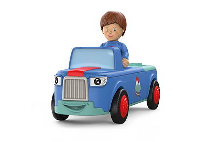 Toy figure Mio Mounty: boy sits in a blue car