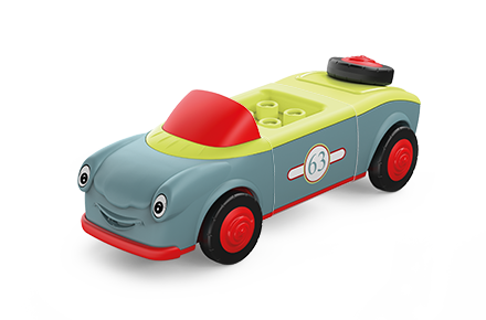 Toddys toy vehicle in the colors gray-red-green with red wheels and green seats
