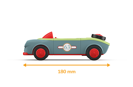 Toy car in green-gray with red wheels and a measured length of 180 millimeters