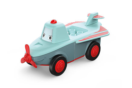 Toddys toy airplane in the colors gray-turquoise with red wheels and red propeller
