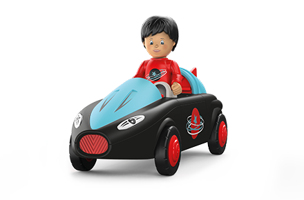 Toy figure Sam Speedy: boy in racing car