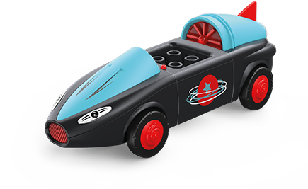 Toddys rocket-shaped toy vehicle in black and blue with red wheels