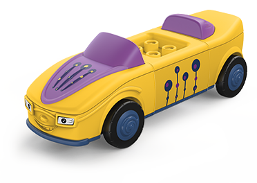 Toddys toy car in the colors purple-yellow