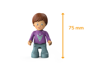 Toddys figure Jim Jumpy, a boy with a purple sweater, gray trousers, brown hair and the measured size of 75 millimeters