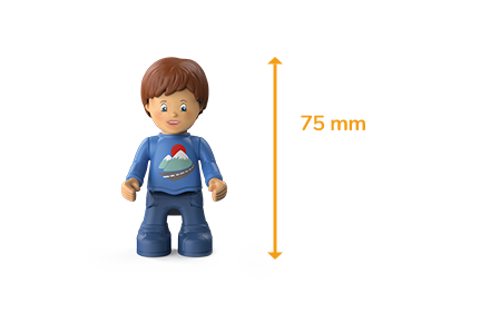 Toddys figure Mio Mounty, a boy with a blue sweater, blue pants, brown hair and the measured size of 75 millimeters