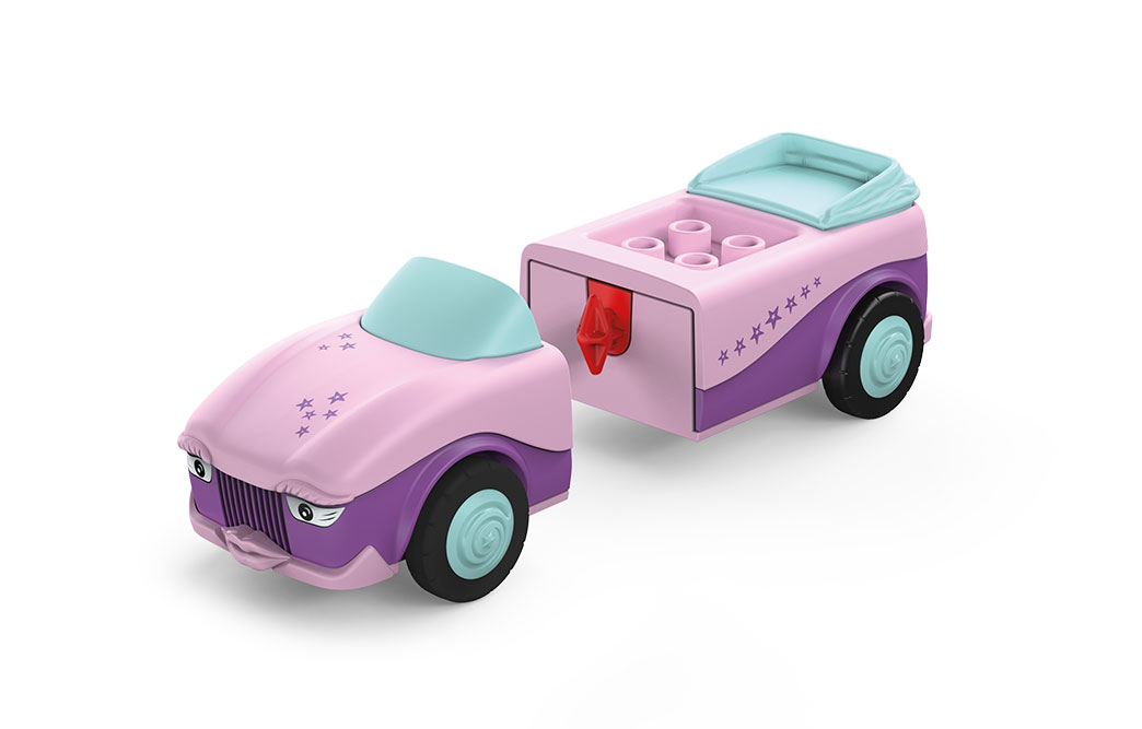 Disassembled Toddys Betty Blinky: Front and rear of a pink toy car with blue wheels