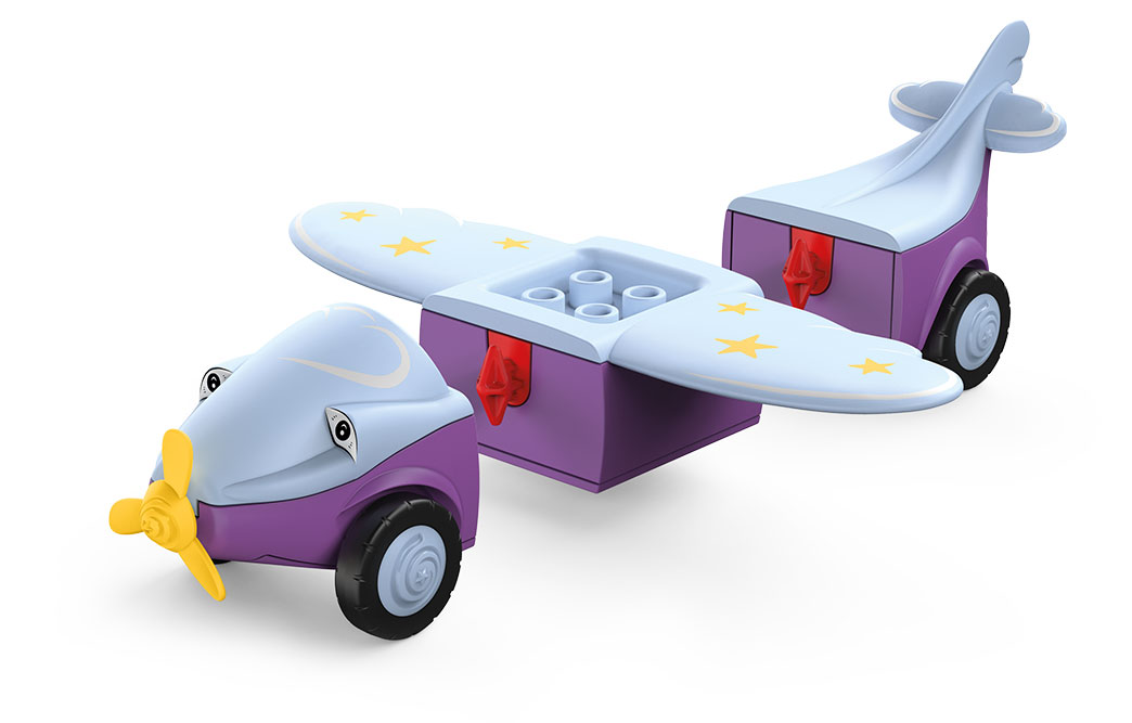 Disassembled Toddys toy airplane Conny Cloudy in the colors gray-purple with yellow propeller and stars on the wings