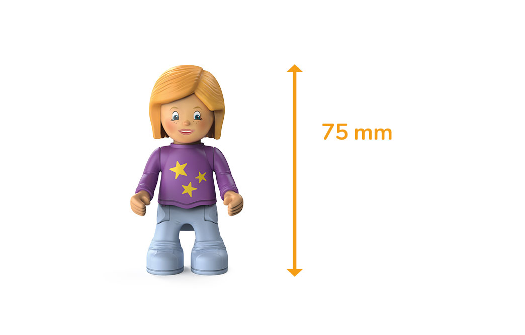 Toddys character Conny Cloudy, a girl with a purple star sweater, gray trousers, light blonde hair and the measured size of 75 millimeters
