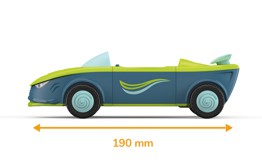 Toy car in shark shape, in blue-green with blue wheels and a drawn-in length of 190 millimeters