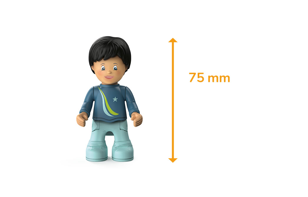 Toddys figure Dave Divey, a boy with a blue sweater, light-colored trousers, black hair and the measured height of 75 millimeters