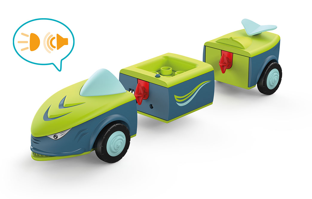 Disassembled Toddy Dave Divey: toy car in shark shape, in blue-green with blue wheels and sound speech bubble