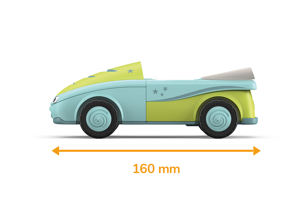 Toy vehicle in light blue and green with blue wheels and a measured length of 160 millimeters