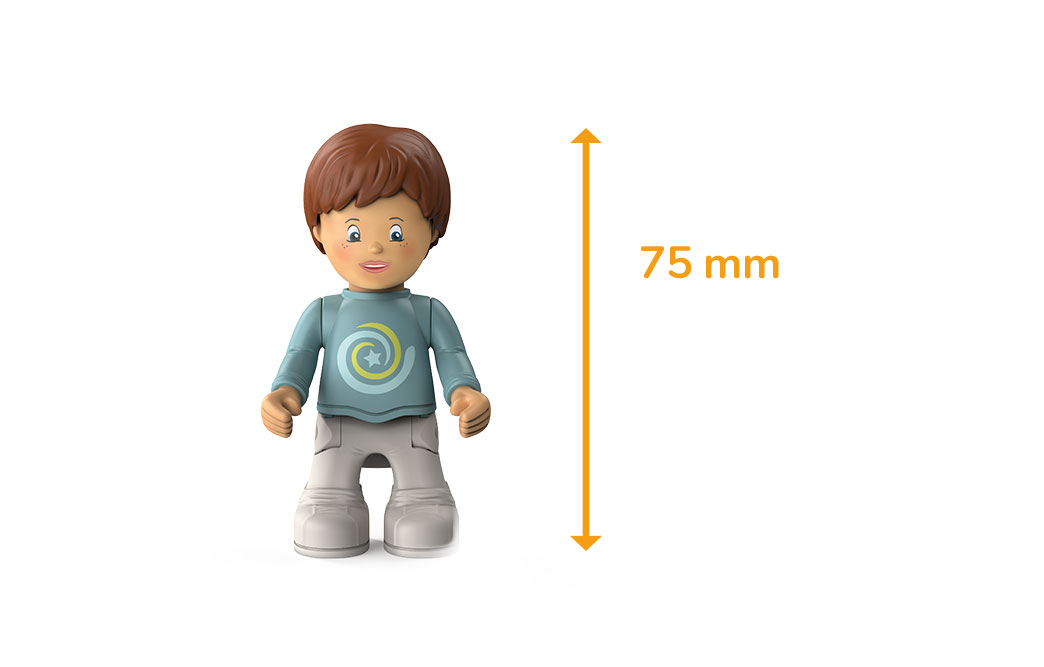 Toddys character Freddy Fluxy, a boy with a gray-blue sweater, white pants, brown hair and the measured size of 75 millimeters
