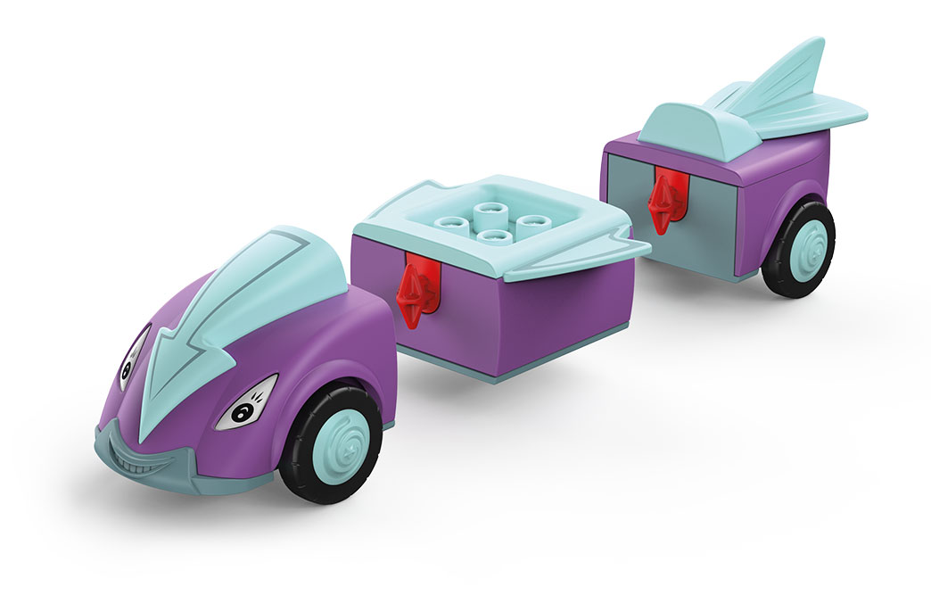 Disassembled Toddys toy vehicle Jim Jumpy in arrow shape in the colors purple-blue with blue wheels