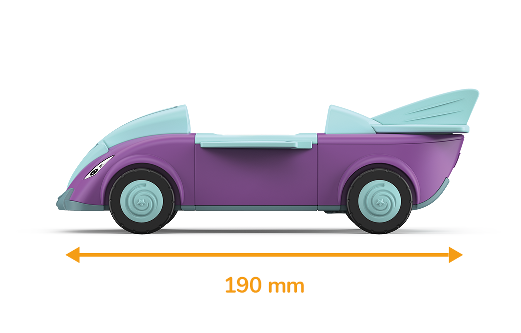 Toddys toy car in the shape of an arrow and the colors blue-purple with blue wheels and a specified measured length of 190 millimeters