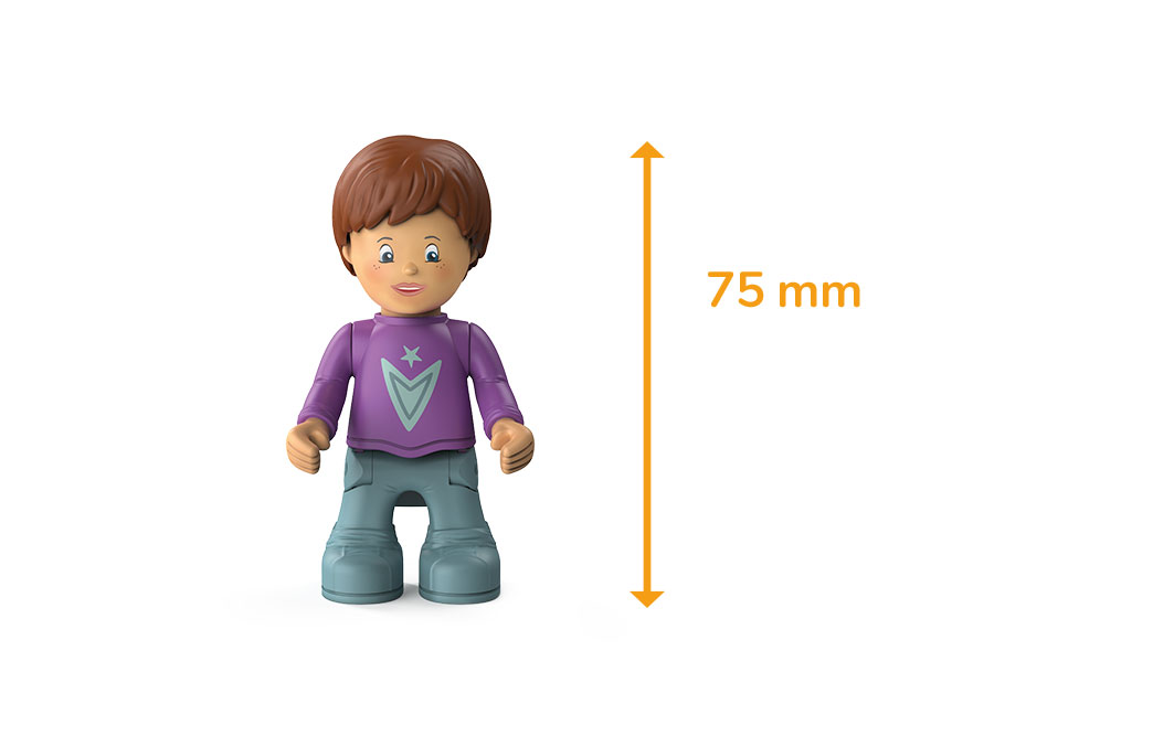 Toddys figure Jim Jumpy, a boy with a purple shirt, gray trousers, brown hair and a measured height of 75 milimeters