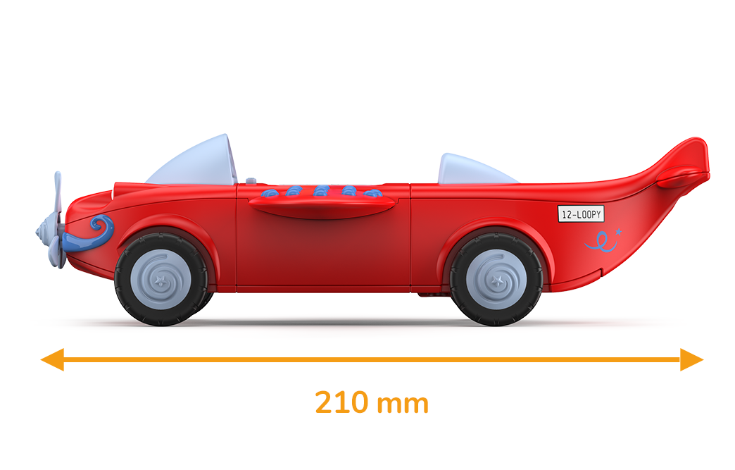 Toy airplane in red with white wheels and propellers and a measured length of 210 millimeters