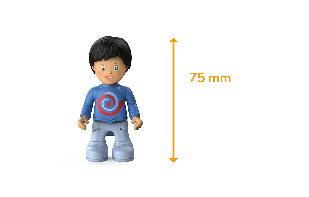 Toddys figure Leo Loopy, a boy with a blue sweater, gray pants, black hair and the measured size of 75 millimeters