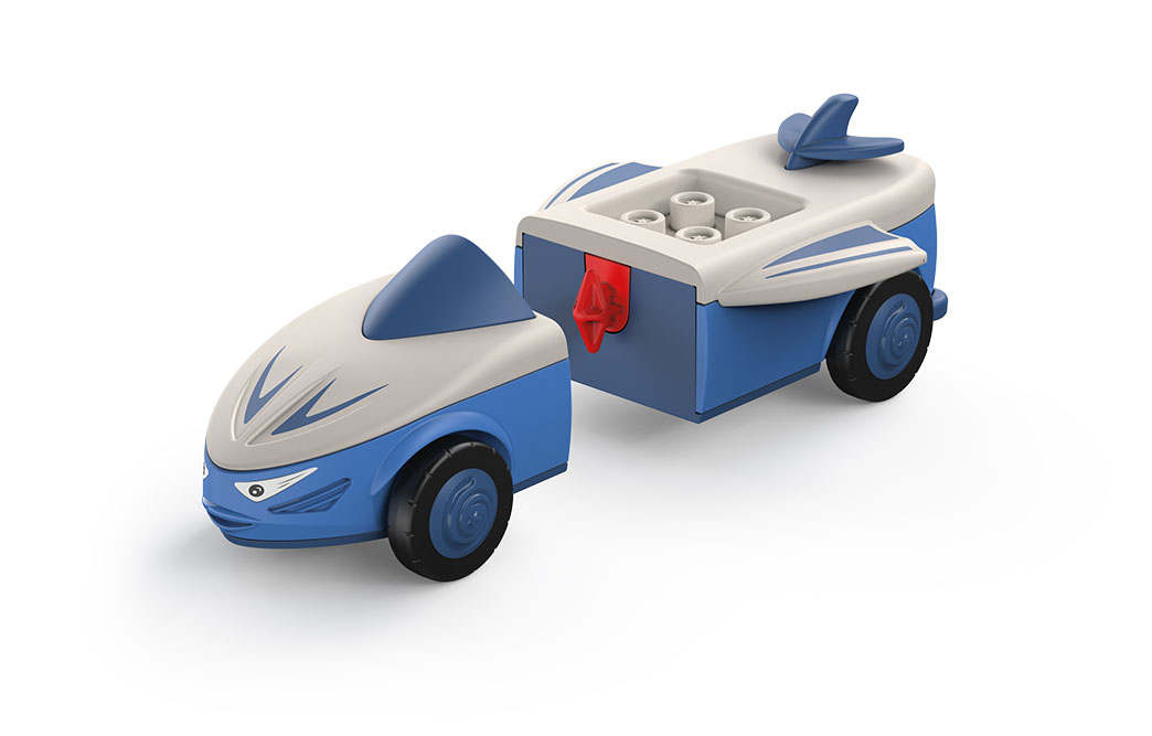Disassembled Toddys toy car Mike Moby in gray-blue with blue wheels
