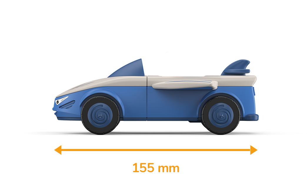 Toy car in gray-blue with blue wheels and a measured length of 155 millimeters