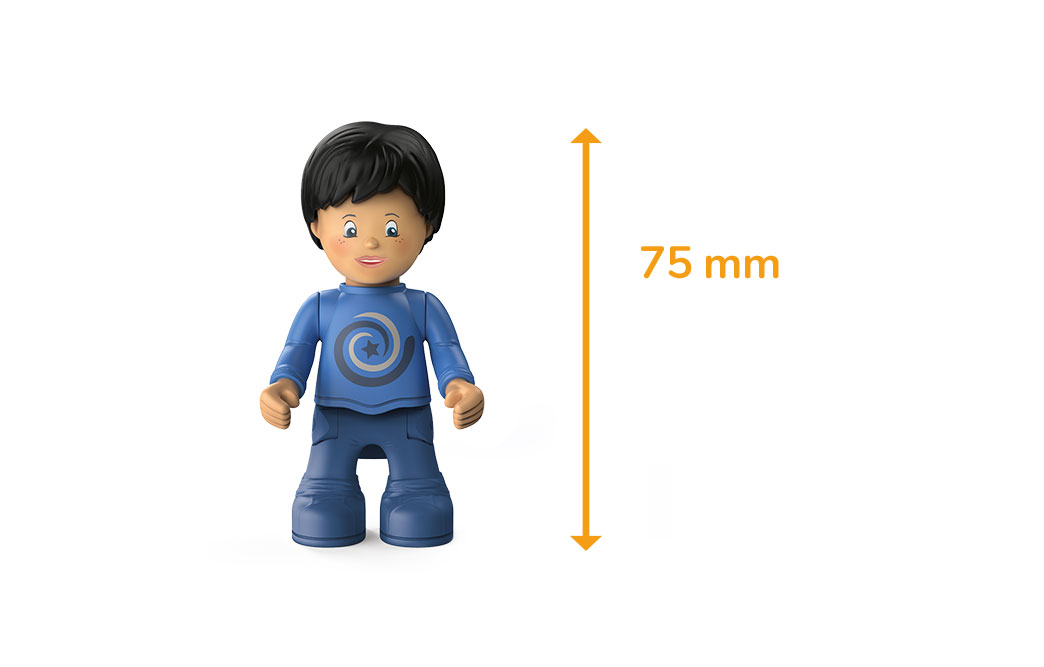 Toddys character Mike Moby, a boy with a blue sweater, blue pants, black hair and the measured height of 75 millimeters