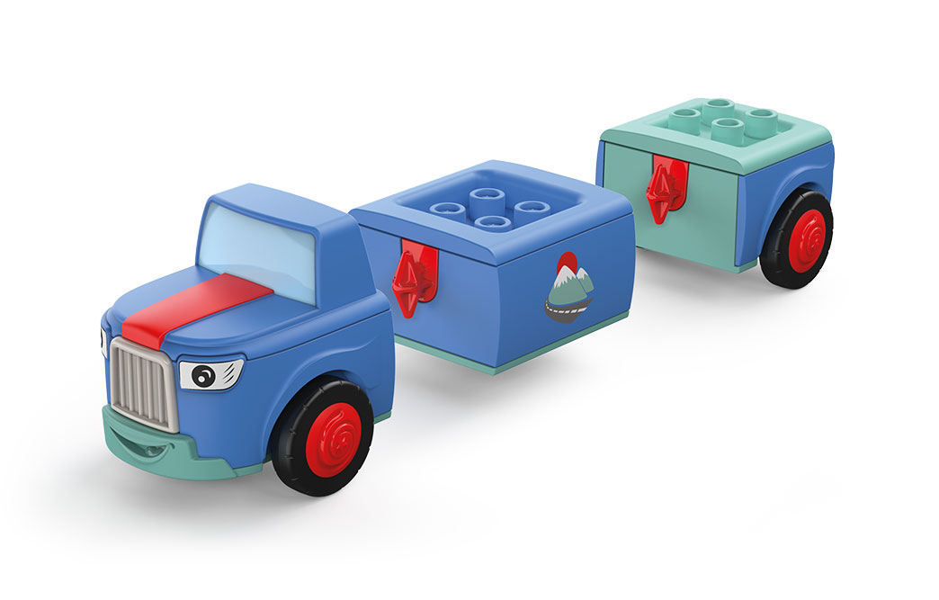 Disassembled Toddy's Mio Mounty: front and rear part of a blue-green toy car with red wheels