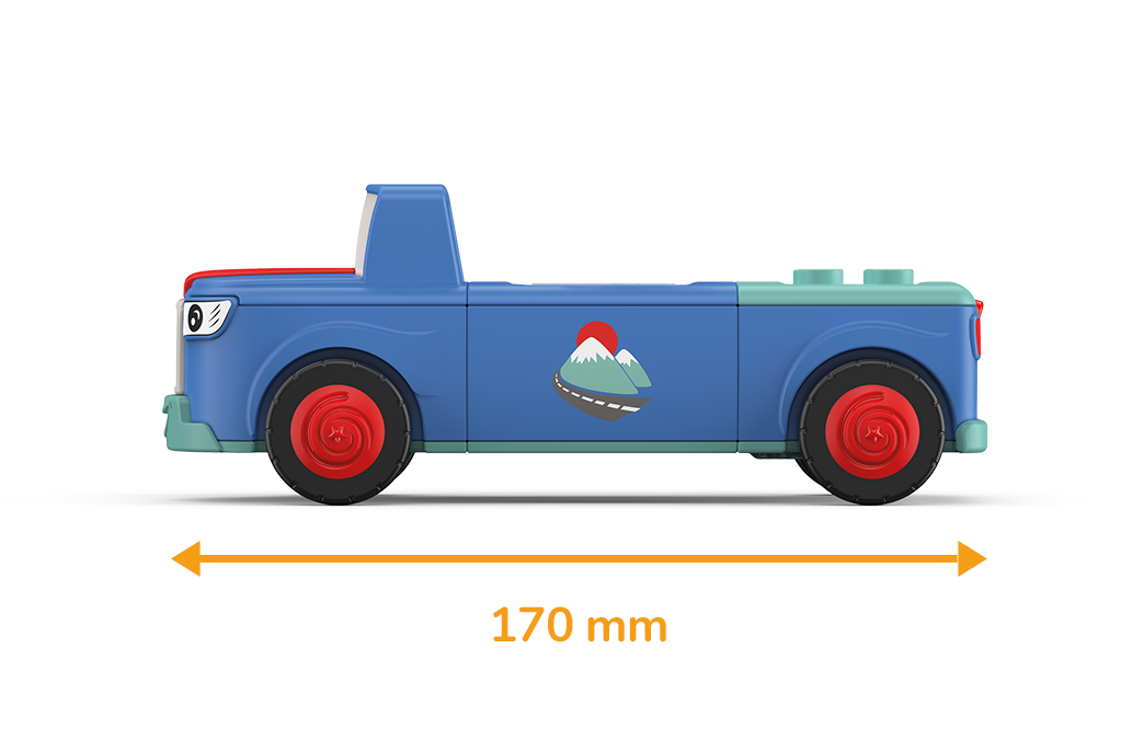 Toy car in blue-green with red wheels and a measured length of 170 millimeters