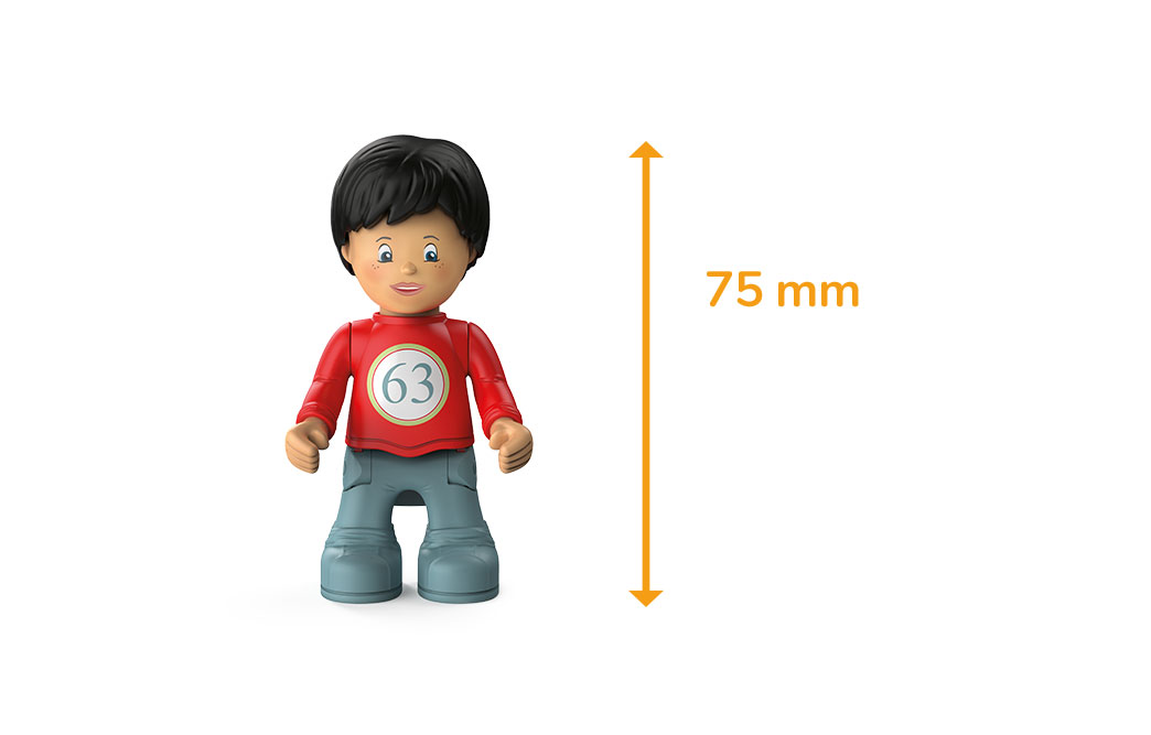 Toddys character Olli Oldy, a boy with a red sweater, gray trousers, black hair and the measured height of 75 millimeters