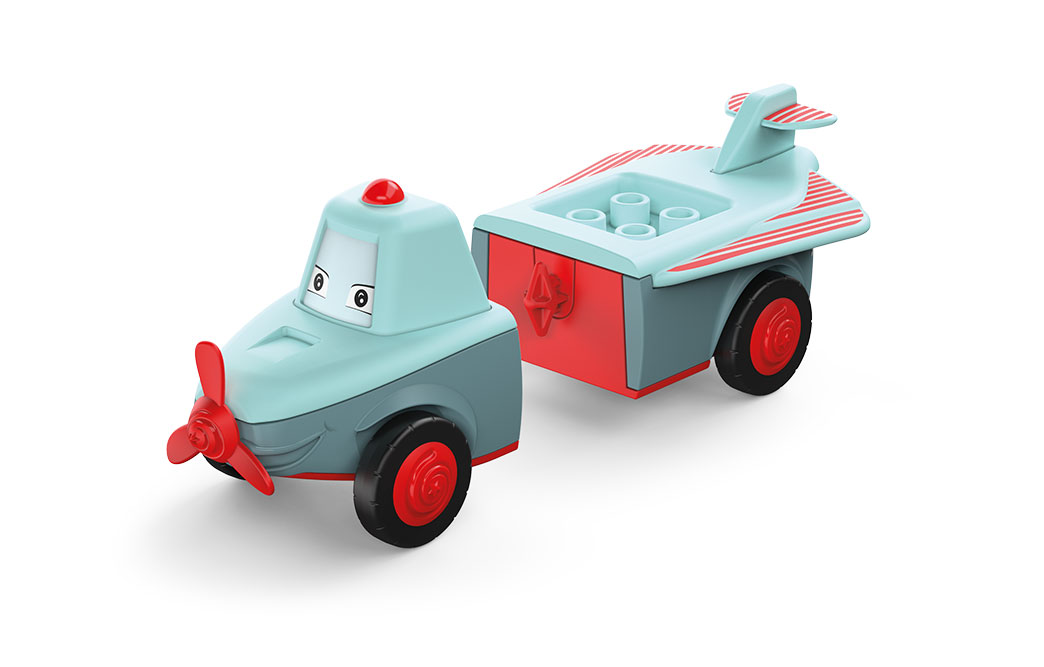 Disassembled Toddys toy airplane Pretty in the colors gray-turquoise with red wheels and red propeller