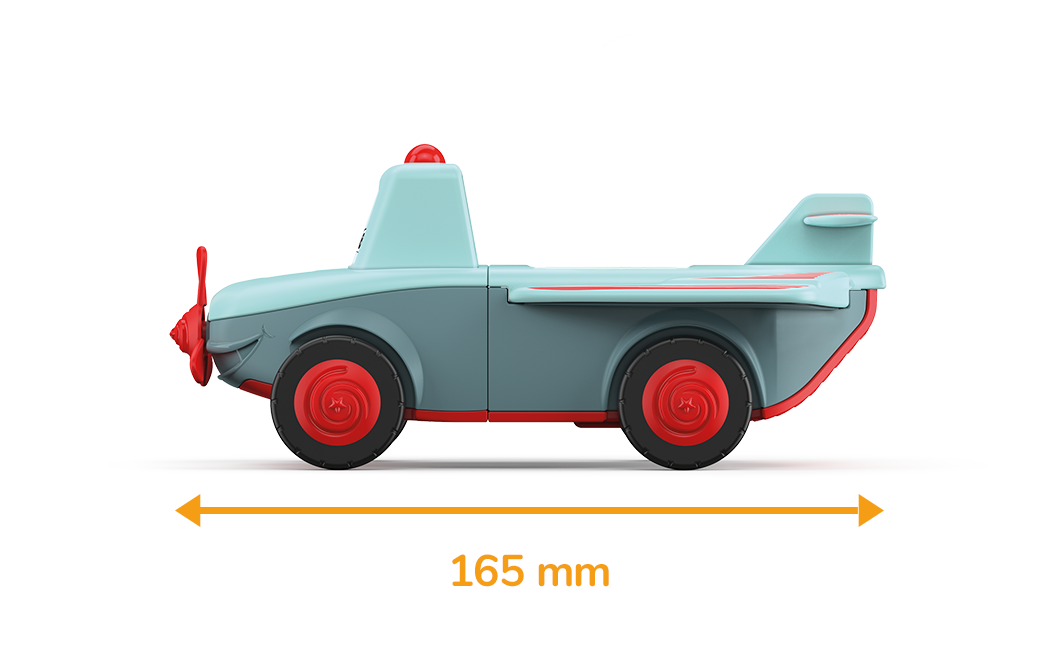 Toy airplane in gray-turquoise with red wheels and propellers and a measured length of 165 millimeters