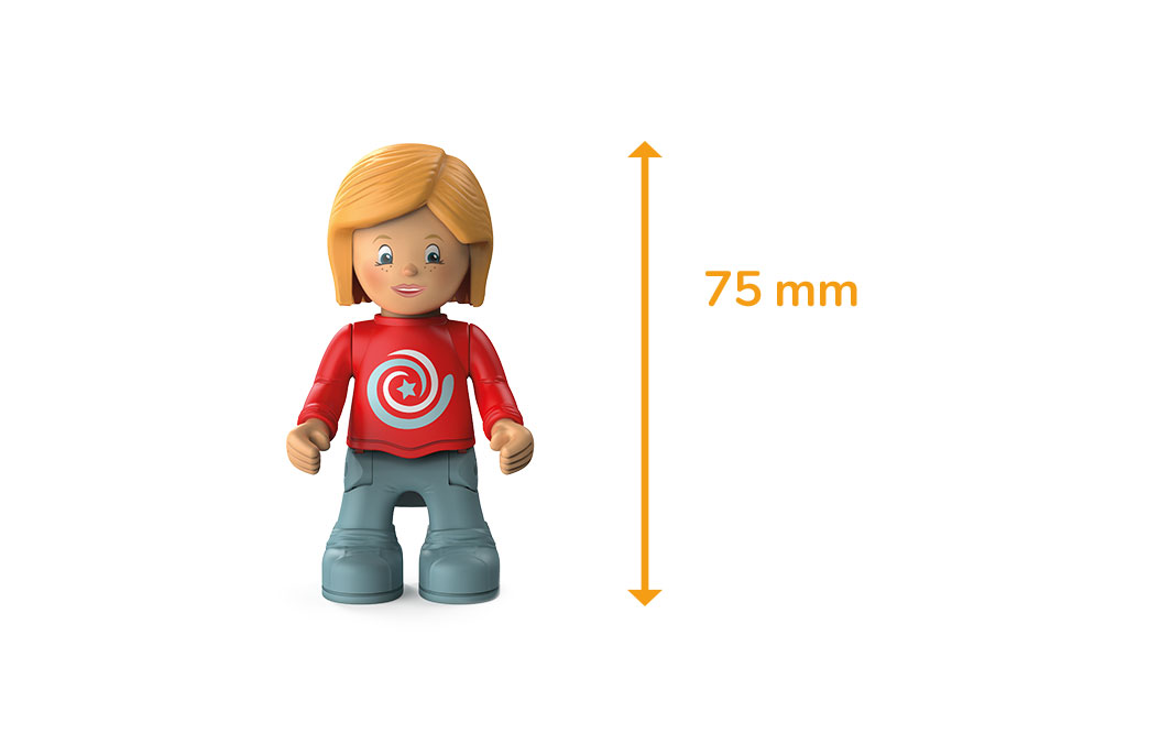 Toddys character Paula Pretty, a girl with a red sweater, gray trousers, reddish hair and the measured height of 75 millimeters