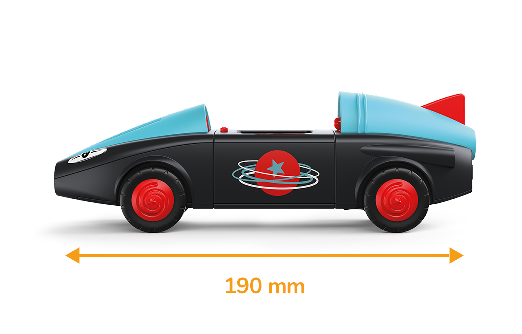Rocket-shaped toy vehicle in black and blue with red wheels and a measured length of 190 millimeters