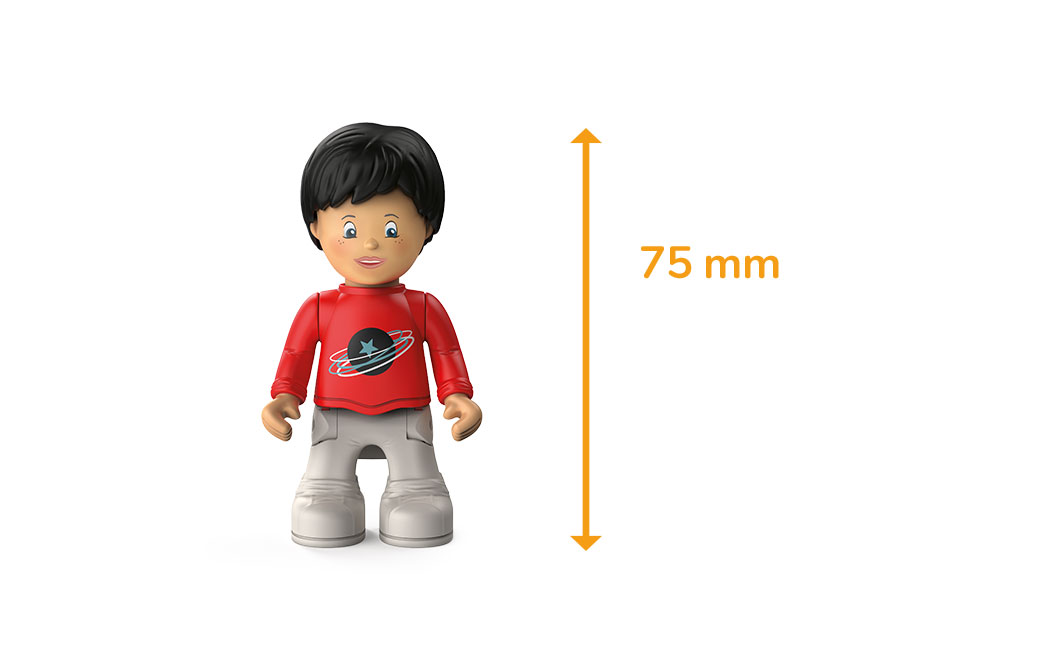 Toddys character Sam Speedy, a boy with a red sweater, white pants, black hair and the measured height of 75 millimeters