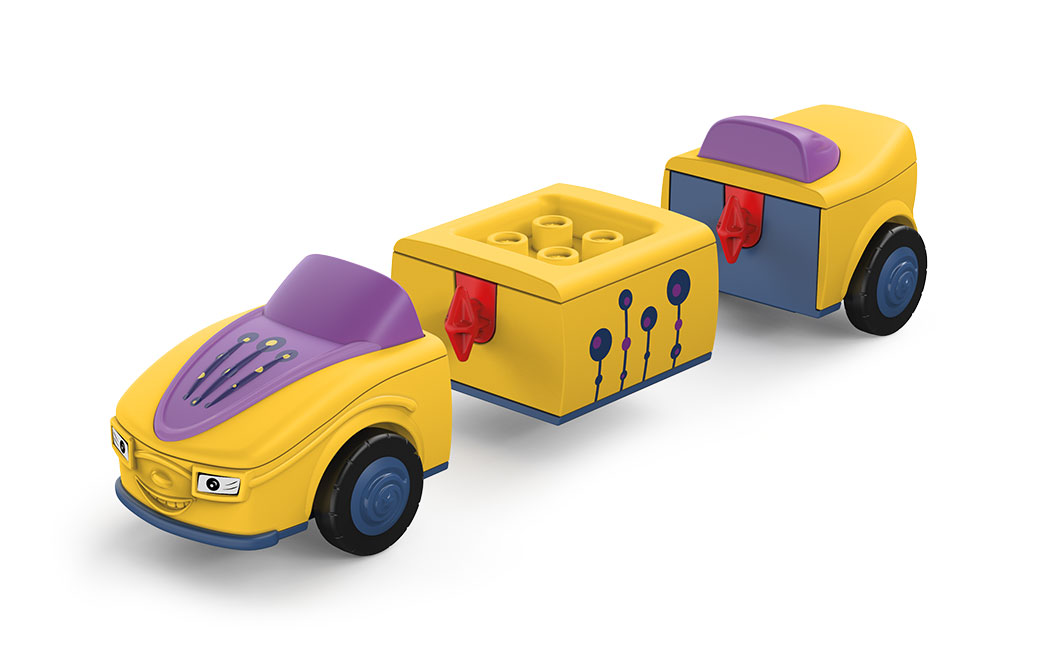 Disassembled Toddy Zoe Zoomy: toy vehicle in yellow-purple