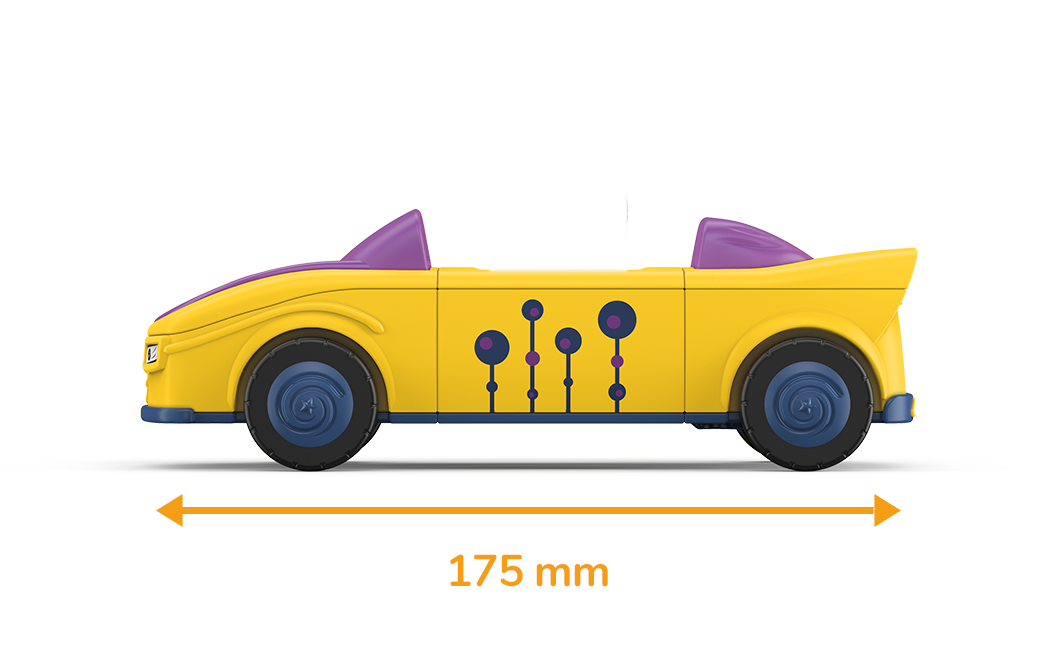 Toy vehicle in yellow-purple with a drawn measured length of 175 millimeters