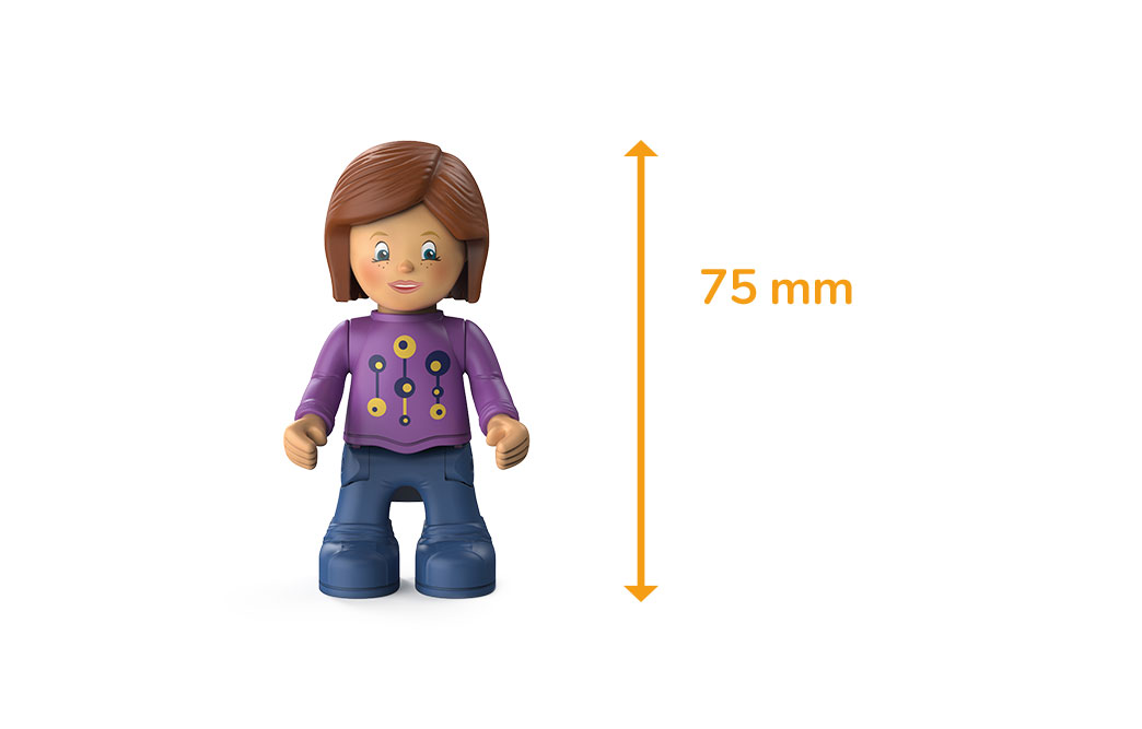 Toddys character Zoe Zoomy, a girl with a purple sweater, blue pants, brown hair and the measured size of 75 millimeters
